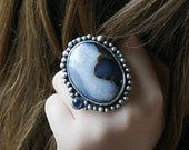 Reserved (Balance) - The Vast Universe - Oregon Turtleback Agate and Mahogany Obsidian Sterling Silver  Ring
