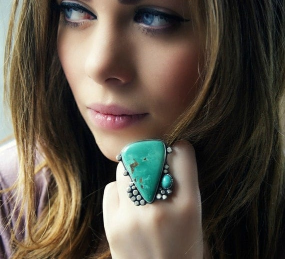 Reserved (Balance)- The Perfect Shore - Turquoise Sterling Silver Ring