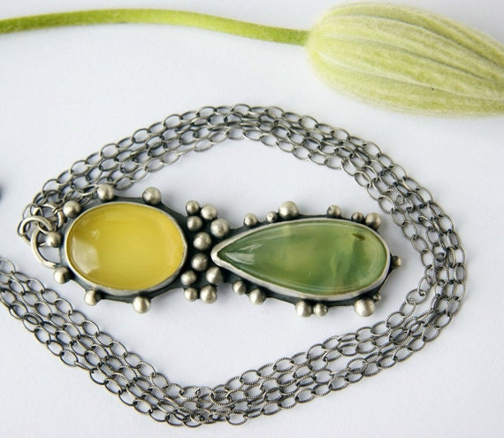 S.A.L.E. 25% off - Leaves of Spring - Prehnite and Chalcedony Sterling Silver Necklace