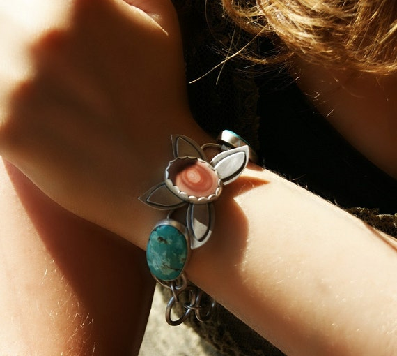 S.A.L.E. 20% Off-  Earth, Sky and Water ------- Turquoise and Imperial Jasper Sterling Silver Bracelet