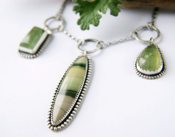 Reserved (Balance) - Life of the Forest - Imperial Jasper and Prehnite Sterling Silver Necklace