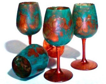 Hand Painted Wine Glasses Set of Four Copper and Teal Floral