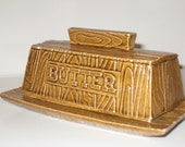 Kitschy Rustic Butter Dish Faux Bois