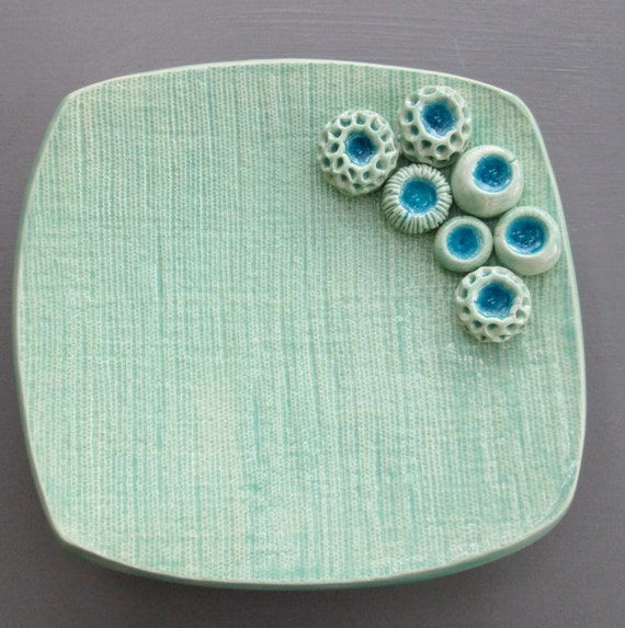 Ceramic Turquoise Dish with Spore Pods