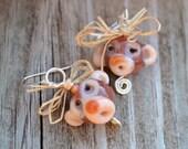 Monkey Business Earrings - Lampwork Glass Monkeys & Sterling Silver