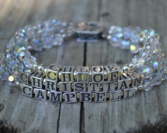Personalized Mother's Name Bracelet - Three Strands - Block Letters - Sterling Silver and Swarovski Crystals
