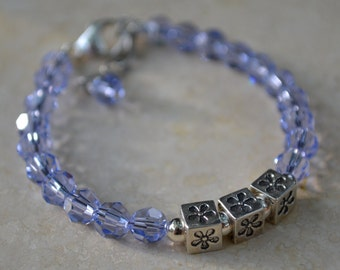 Flower Power - Girls stacking bracelet with Swarovski crystals, sterling silver block flower beads