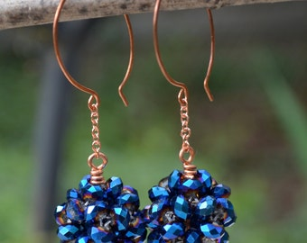 Metallic Blue and Copper Ear Bobs - Crystal Rondelles and Handmade Copper Earwires - BonBon Earrings - Metallic Blues by SplendorVendor