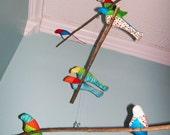 Bird Mobile - branches - 3 tiered - baby bird - in blue, red, green, yellow, white, orange