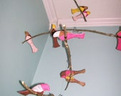 Bird Mobile- 4-tiered , branches, pink, brown, yellow, white