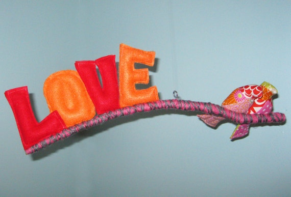 Birds In Love Mobile- red, pink, orange, green-yard wrapped