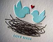 RESERVED for Jamie, Love Birds Letterpress Notes, Custom Colors, Set of 70