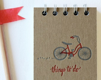 Bicycle To Do List Letterpress Notebook