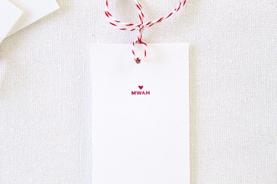 Mwah Letterpress Tags. Set of 6