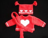 Heart - Sweater, Hat, and Scarf.  A Knitting Pattern That Fits 18-Inch, American Girl, and Natterer Dolls.