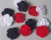 Crochet Flower Appliques or Decorations - 12 assorted red white and blue - ready to ship