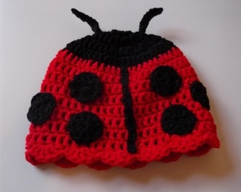 Little Miss Ladybug Hat 6-9  mo and 9-12 mo sizes - made to order