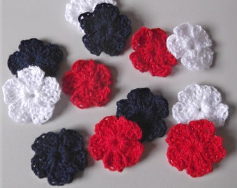 Crochet Flower Appliques or Decorations - 12 assorted red white and blue