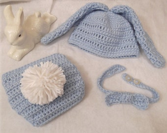 Floppy Ears Bunny Hat - Cottontail Diaper Cover - Neck Bow Tie - newborn to 6 mo sizes - made to order