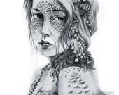 SALE Large Art Print 'Mermaid Mask'