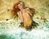 Washed Ashore Art Print 8 x 8.5 inch, Mermaid Illustration