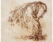 SALE Hedgewitch, Dryad Tree Woman Nature Goddess Art Print 11 X 14 inch