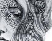Set of 10 Small Art Prints, Fantasy Illustrations, Mermaids, Unicorns, Fairies