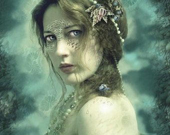 SALE Mermaid Behind Her Mask, 11 x 14 Sea Siren Art Print Blue Green Aqua Water Nymph