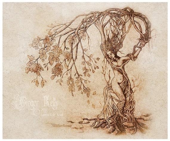 BOGO SALE Hedgewitch, Dryad Art Print 11.5 X 14 inch