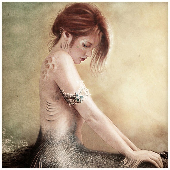 SALE Sea Faerie, Mermaid Art Print 8 X 16 inch