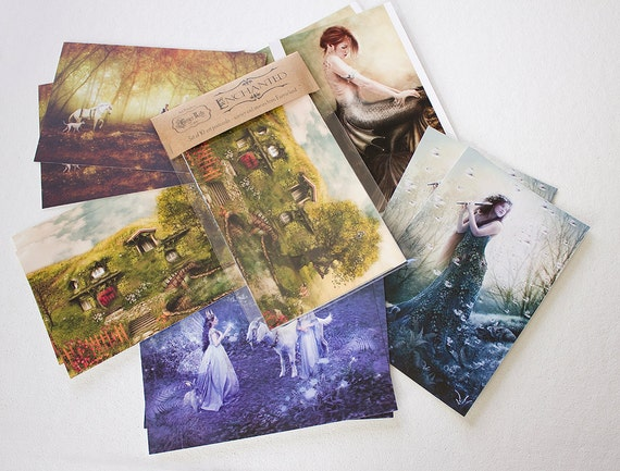 SALE Enchanted Set of 10 Mythical Fairy Tale Art Postcard Prints, Fantasy Illustrations by Ginger Kelly // Set C