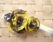 Sweet Rosey Headband- Double Bloom - Yellow White Brown - Ages infant and up