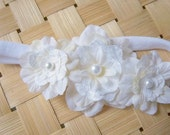 Fancy Pearl Silk Flower Headband -White- Ages infant and up- Baptism- Christening- Wedding
