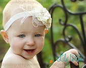 Fancy Sweet Rosey Pearl Headband -Neutral Creme- Ages infant & up