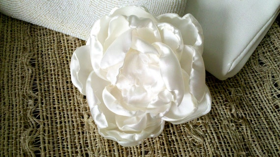 READY TO SHIP- Belle Fleur -Bridal Flower - Creamy White Satin, Blossom