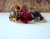 Crystal Beaded  Floral Bohemian Bracelet with Swarvoski Crystals multi stranded