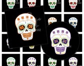 DIA De Los MUERTOS Rainbow SKULL (dc25588525) digital collage sheet / available in Scrabble size , Circle or Square in 1 inch or 1.5 inches