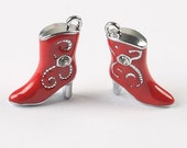 Cowboy Boot Charms 2 Pieces In Red For Jewelry Making