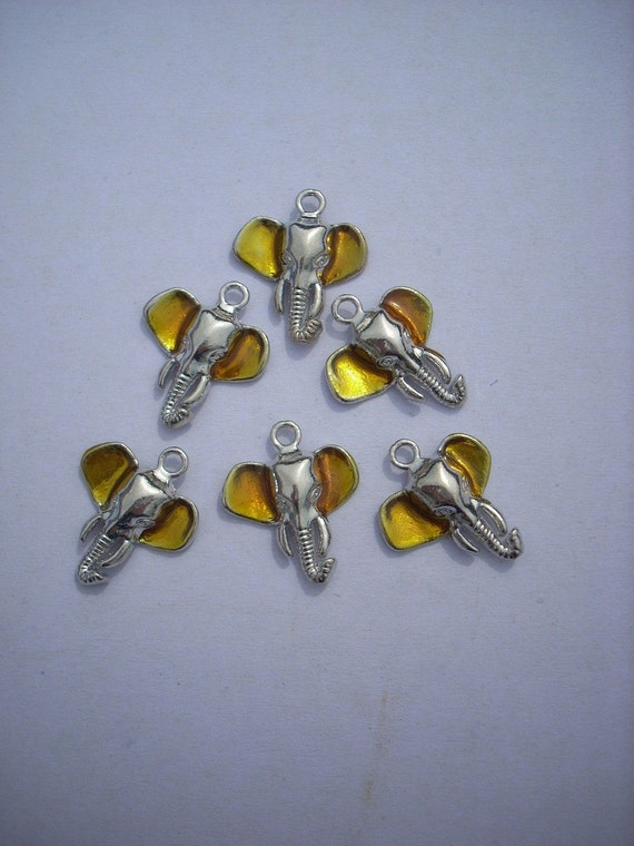Elephant Charms Silver Gold 6 Pieces