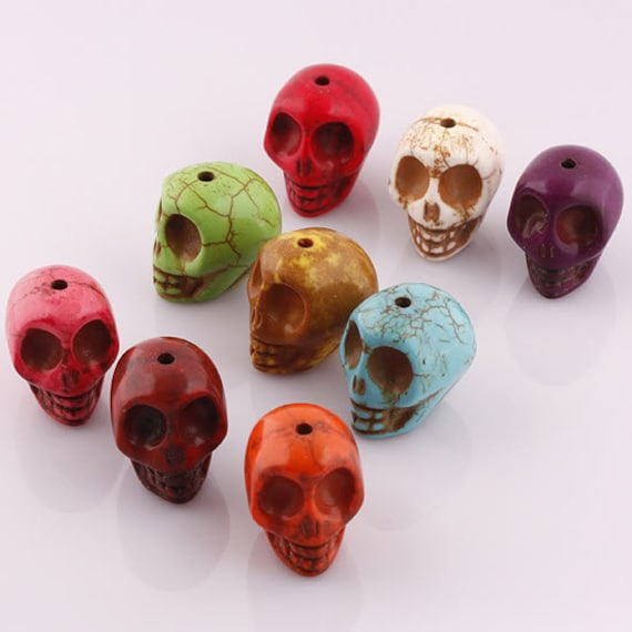 Howlite Skull Beads - Random Mix of Colors - 6 Pieces