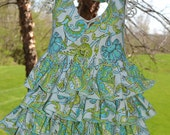 Gorgeous Green and Blue Paisley Ruffled Halter Top--Custom Listing--