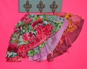 Pink Peony Double Layered Twirl Skirt with Side Tie--Custom Listing--
