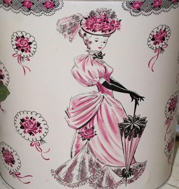Vintage victorian lady vanity waste basket can shabby cottage - Shabby chic wastebasket ...
