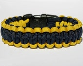 Paracord Survival Bracelet - Navy - Yellow and Navy Blue
