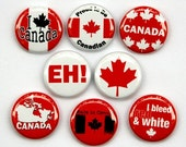 Canada Buttons Set of 8 - Pinbacks Badges 1 inch