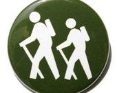 Hiker Symbol - Pinback Button Badge 1 1/2 inch - Magnet Keychain or Flatback