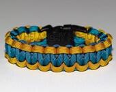 SLIM Paracord Survival Bracelet Cobra - Goldenrod and Caribbean