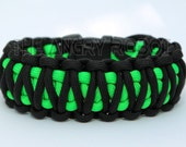 Paracord Survival Bracelet  King Cobra - Black and Neon Green
