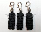 Set of 3 Paracord Zipper Pulls Cobra - Black