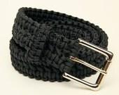 Paracord Survival Belt - Black with Nickle Buckle - S M L XL